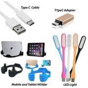 COMBO- 1 Type C OTG Adapter +1 Type C Data Cable + 1 OK Mobile Holder + 1 USB LED Light