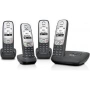 Gigaset A415A - Quattro DECT telefoon - Antwoordapparaat - Zwart/Zilver
