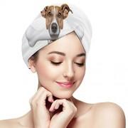 HYTCSY Comida para perros con hueso Línea colorida Toalla amarilla para secar el cabello Envoltura de toallas de cabello rizado Absorbente suave Secado rápido de cabello Turbante Toallas de secado de cabell
