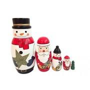 Xqing Lovely Mini White Snowman Santa Claus Christmas Tree Nesting Dolls Set of 5 Russian Dolls Matryoshka Handmade Perfect for Kids Girl Christmas Birthday Gift Home Decorations
