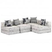vidaXL Canapea extensibilă modulară cu 4 locuri, gri, material textil