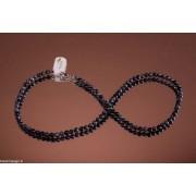 Colier obsidian fulg-de-nea de 40cm cu mărgele rotunde 4mm