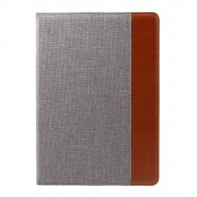 Shop4 - iPad Air Hoes - Book Cover Denim en Leer Bruin