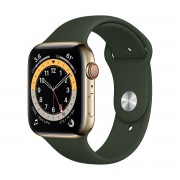 Smartwatch Apple Watch Series 6 GPS + Cellular, 44mm, 4G, Carcasa Gold Stainless Steel, Bratara Cyprus Green Sport Band