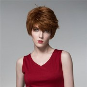 Straight Short Human Hair Wigs Cool Side Bang Virgin Remy Mono Top Capless Unique 14 Colors