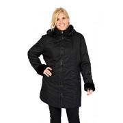 Excelled Leather Excelled chamarra de senderismo para mujer, talla grande, con ribete de piel sintética, Negro, XXXL