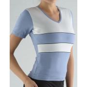 GINA Tričko s krátkým rukávem kombinace barev a paspule 98003-LGMMxB Ocelová-bílá S