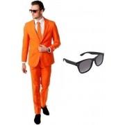 Oranje heren kostuum / pak - maat 56 (3XL) met gratis zonnebril