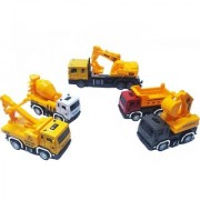 Emob Battery Operated Excavator Truck with 4 Mini Pull Back Vehicle Construction Trucks (Multicolor)