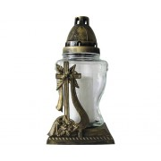 Candela din sticla, ornament cruce