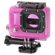 Funda protectora de plastico abierta con lentes para GoPro Hero 3 - Deep Pink + Black