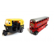 Varshas Yellow Auto & Double Decker Bus Toy Car - Small, Set Of 2