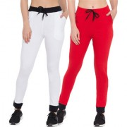Cliths Women's Sport Wear Cotton Stylish Solid Trackpant|White Black Red Black Yoga Pant For Women-Pack Of 2