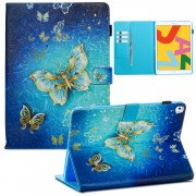 Pattern Printing Leather Wallet Stand Tablet Case for iPad 10.2 (2019) - Gold Butterflies