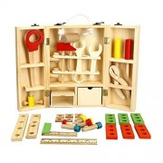2017 Hot Sale Kids Wooden Multifunctional Tool Set Toys Maintenance Box Wooden Tools Toy Baby Nut Combination Childrens Day Gift