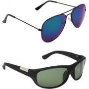 Abner Aviator, Wrap-around Sunglasses(Blue, Green)