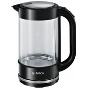 Fierbător de apă Bosch TWK70B03, 1.7 L, 2400 W, Indicator nivel apa, Bază 360 grade, Filtru anticalcar inox, Sistem de triplă siguranţă, Negru/Inox
