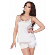 Classic női szatén pizsama, fehér XL