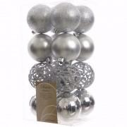 Geen Kerst kerstballen zilver 6 cm Elegant Christmas 16 stuks