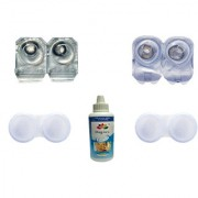 Magjons 2 Pair Black Grey 0 Power Party Contact Lean Monthly Use With 80ml Solution Lens Case