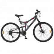 Bicicleta adulti MTB-FS 26 inch CARPAT ZTX, cadru otel, 18 viteze, culoare gri/rosu