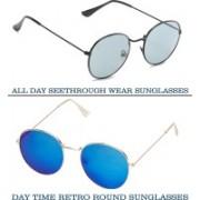 Vast Round Sunglasses(Grey, Blue)