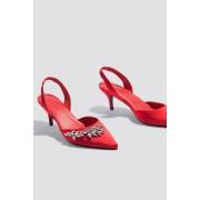 NA-KD Shoes Embellished Slingback Pumps - High Heels - Red