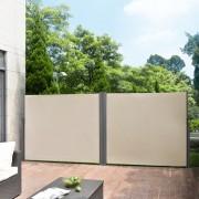 [pro.tec]® Dupla paraván kerti napellenző 160 x (2 x 300) cm kültéri kihúzható szél- és napellenző belátásgátló bézs