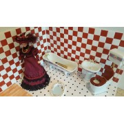 Obiecte sanitare din portelan alb/roz- miniaturi pentru papusi