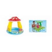 Pachet Piscina Gonflabila pentru Copii Tip Ciupercuta cu Parasolar Model 57114 102 x 89 cm + Colac Gonflabil Froggy Frie