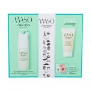 Shiseido Waso Quick Matte Moisturizer darčeková kazeta pre ženy denná pleťová starostlivosť Waso Quick Matte Moisturizer Oil-Free 75 ml + pleťový peeling Waso Soft+Cushy Polisher 30 ml + očné sérum Waso Eye Opening Essence 0,3 ml + podkladová báza Waso Po
