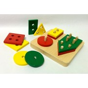 Wooden Shape Sorter for Toddlers - Shapes and Size for Montessori and Playschool Toy for Kids