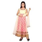 Stuties Women Anarkali net hand work in Neck line and embroidery work with Chanderi Silk lining Readymade salwar kameezO9419XL Tomato