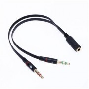Tech Gear 3.5mm 1 to 2 Audio Cable Single-hole Computer Headphone Mic Adapter Black