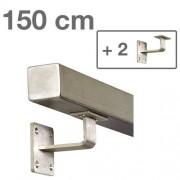IVOL RVS Vierkante Trapleuning 150 cm + 2 houders