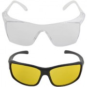 NIGHT VISION DRIVING TRANSPARENT OR YELLOW SUNGLASSES FOR DAY AND NIGHT OR INDUSTRIAL GLASSES DRIVING GLASSES CLEAR GL