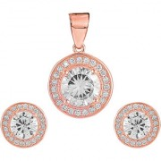 92.5 Sterling Silver Cubic Zirconia Studded Halo Pendant Earrings Set for Women and Girls (Rose Gold/ Silver)