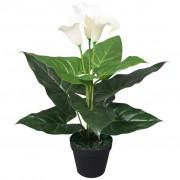 vidaXL Floare de cală crin artificială cu ghiveci, 45 cm, alb