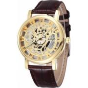 Ceas UNISEX casual elegant Geneva Quartz Q193 curea piele maro-auriu