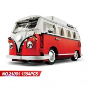 Generic LEPIN 21001 1354PCS Technic Series The Volkswagen T1 Camper Van Model Assembling Building Blocks Compatible with Toy 10220