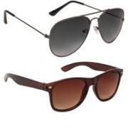 Marabous Aviator, Wayfarer Sunglasses(Black, Violet, Brown)