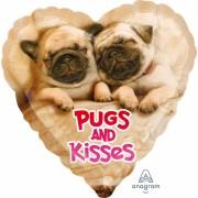 Fólia lufi, 43cm, Pugs & Kisses
