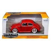 1959 Volkswagen Beetle Red With Baby Moon Wheels 1/24 By Jada 97422