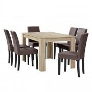 [en.casa]® Elegantan blagovaonski set - stol(hrast/svijetlo smeđa) + 6 stolica (smeđa)