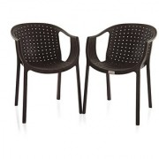 Varmora Designer Chair Set of 2 (Ola Netted - Brown) By HOMEGENIC