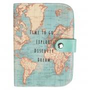 wereld kado - Paspoorthoesje met vintage wereldkaart | Sass & Belle