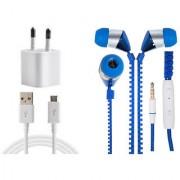 Jiyanshi Combo Of 2A Wall Charger & Stylish Earphone Blue Compatible With Intex Aqua Xtreme