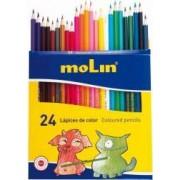 Creioane colorate corp hexagonal 24 culori-set MOLIN Color Plus