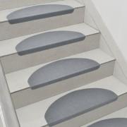 Комплект от 15 броя самозалепващи се килими (стелки) за стълби 280 g/m² , Полукръг, Сив