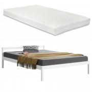 [en.casa] Borovicový rám postele ABWB-2007 s matracom a roštom 140x200 cm